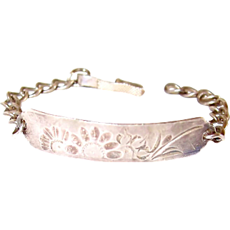 Hammered Sterling Floral and Bird Bracelet for Child or Small Wrist