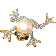 KJL Kenneth Jay Lane Frog Pin Paved Rhinestone Faux Pearl Body Green Eyes
