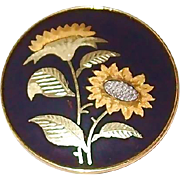 Fine Japanese Anita Gold and Silver Sunflower Pin