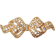 Gold Vermeil Bow Pin with Paved Rhinestones