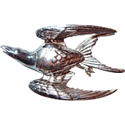 Designer Swallow Figural Bird in Flight Brooch