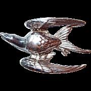 Designer Swallow Figural Bird in Flight Brooch