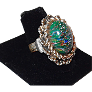 Vintage Green Speckled Fashion Ring for This Years Look in Vogue