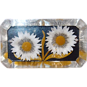 Lucite Back Carved Double Daisy Pin Painted White with Yellow Centers