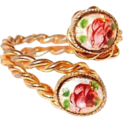 Bypass Ring Rose Gilloche Enamel Costume Ring
