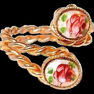 Bypass Ring Rose Gilloche Enamel Costume Ring