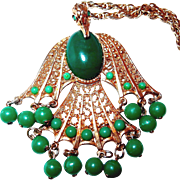Shop our BLOWOUT SALE Falcon Bird Pendant Necklace with Green Beads