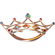 Sterling Silver Crown Pin with Rhinestones