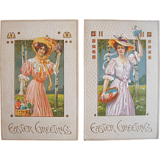 Easter Series Postcards 1910 Glamour Girls Greetings