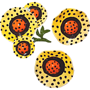Sunny Polka Dot Yellow and Orange Wavy Flower Brooch and Earring Set