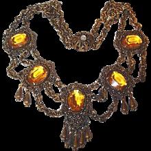 Antique Festoon Crystal Drop Necklace