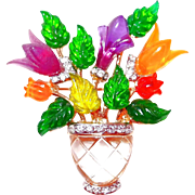 Designer Lucite Flower Basket Brooch with Rhinestones