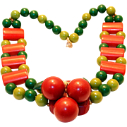 Wonderful Red Cherry Bakelite Necklace from 1940s