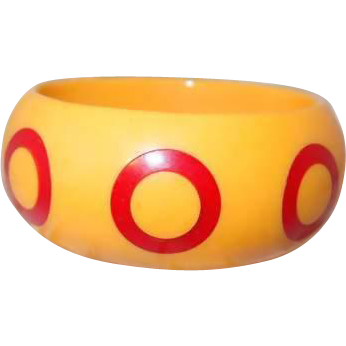 Butterscotch Bakelite Bangle with Red Target Polka Dots