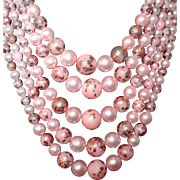 Pink and Gold Leaf Early Plastic Five Strand Beaded Necklace