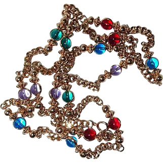 Multi-color Glass Crystal Bead and Chain Necklace