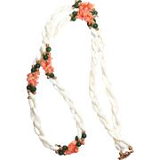 Coral Chip and Jade Bead Necklace Accent Mother of Pearl 3 Strands