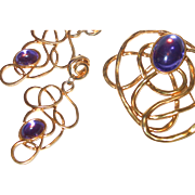Huge Abstract Brooch and Dangle Earrings with Purple Cabochons