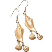 Goldtone Dangle Sea Shell Hook Earrings