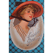 Glamour Girl Easter Postcard with Egg