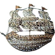 Silver Filigree Ship Brooch with Mast and Sails, Turkish