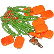 Miriam Haskell Prototype Stick Pin in Indian Style Orange and Green Beads