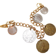 Souvenir Coin Bracelet from 1940-1950 Travels