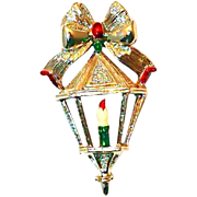 Gerrys Enameled Christmas Pin Candle Light with Bow