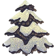 JJ Frosted Snow Covered Christmas Tree Pin