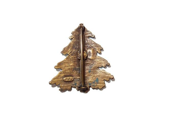JJ Frosted Snow Covered Christmas Tree Pin From