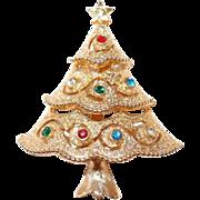 Designer Rhinestone Christmas Tree Pin by JJ - FREE shipping, see details