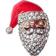 Scarce Monet Christmas Santa Claus Pin Paved with Rhinestones and Topped with Red Enamel Hat