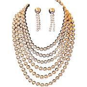 Six Strand Silver Chrome Beaded Necklace and Earring Set