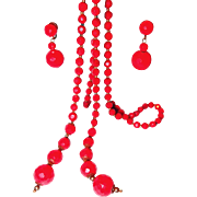 Red Plastic Lavaliere Necklace with Dangle Earrings