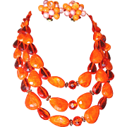 Orange Beaded Three Strand Necklace and Button Bead Earring Set