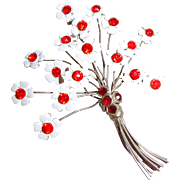 Floral Spray Brooch of Silver Metal Wire and Enamel Flowers with Orange Red Rhinestone Centers