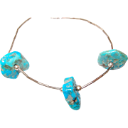 Turquoise Chunk Liquid Silver Necklace