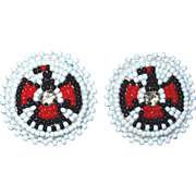 Native American Navajo Beaded Thunder Bird Earrings