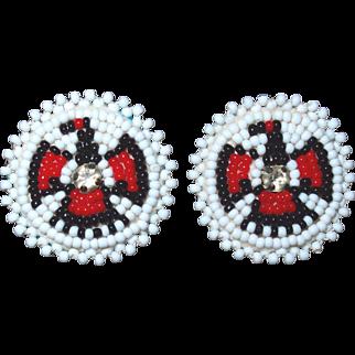 Native American Navajo Beaded Thunder Bird Earrings