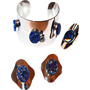 Egyptian Sarah Coventry Cleopatra Cuff Ring and Earring Set