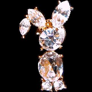 Avon Rhinestone Bunny Tack Pin