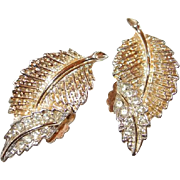 High Textured Soft Goldtone Sarah Coventry Leaf Earrings with Curled Up Paved Rhinestone Tips