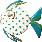 Enamel Polka Dot Angel Fish Pin