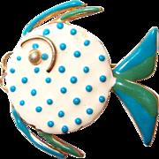 Enamel Polka Dot Angel Fish Pin