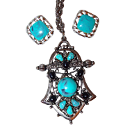 SHOP our End of Year SALE Marbled Turquoise and Black Thermoset Plastic Pendant