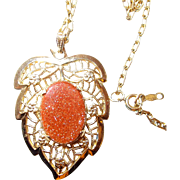 Gold Plate Filigree Leaf Pendant with Real Goldstone Center
