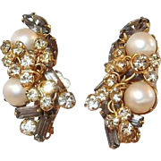 Earrings by Hobe with Smoke Stones, Faux Pearls, and Rhinestone Three Leaf Clovers