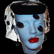Union Made Black Velvet Rim Hat with Fancy Netting