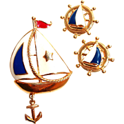 Nautical Avon Enamel Sail Boat Pin Earring Set