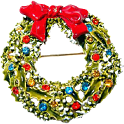 Designer Snow Covered Christmas Holiday Wreath Pin with Red Bow and Rhinestones